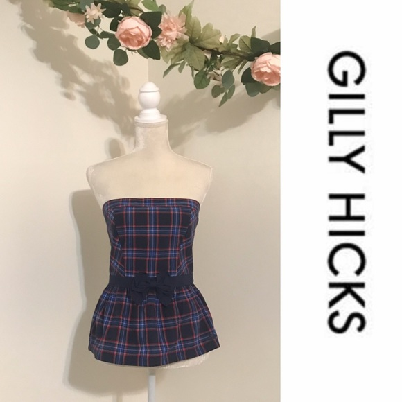 Gilly Hicks Tops - GILLY HICKS // Navy and Red Strapless Tube Top